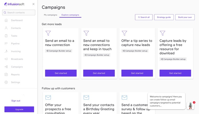 Infusionsoft Campaigns Page