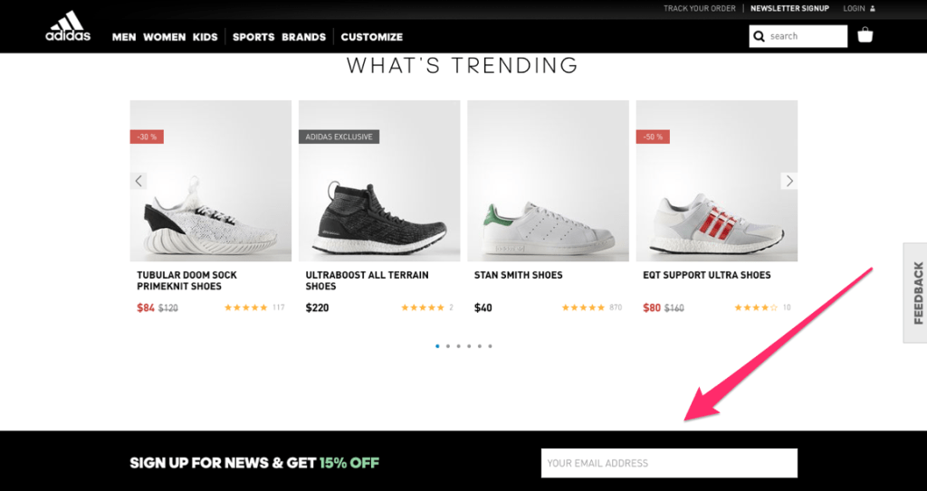 Email Marketing List: Adidas Sign Up Form
