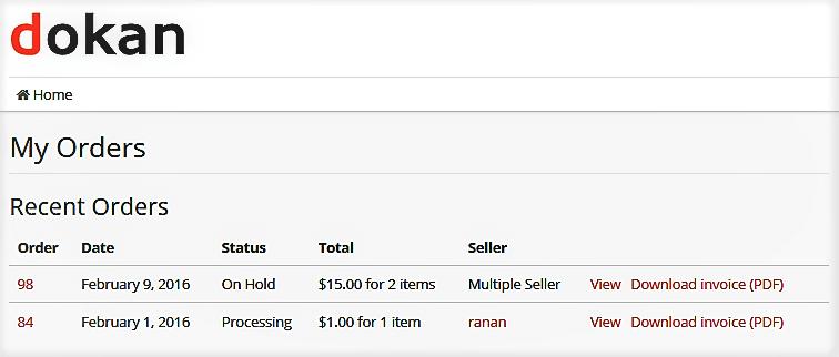 Dokan Marketplace PDF Invoice