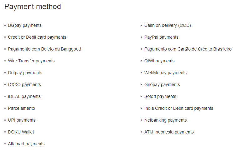 Bangood Payment Method