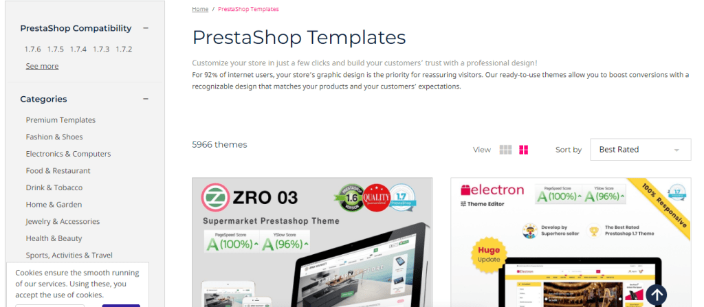 PrestaShop vs WooCommerce: PrestaShop Templates