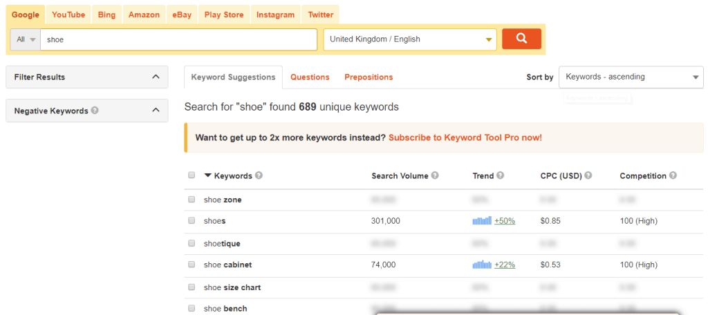 Keyword Research with Keyword Tool