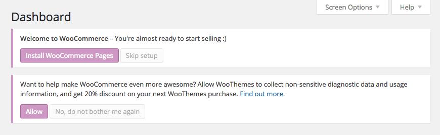 WooCommerce Installation Message