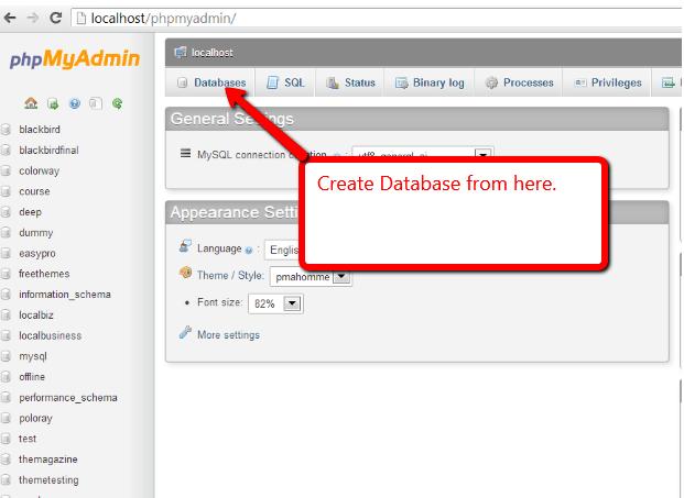 WAMP database creation