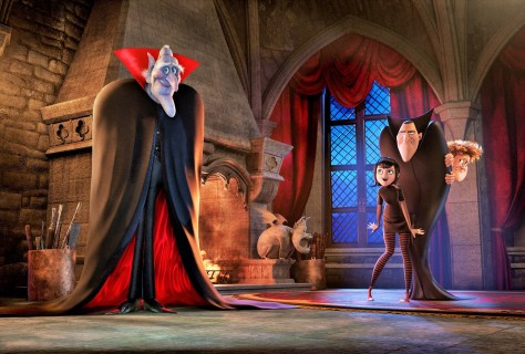 Vlad (Mel Brooks), Mavis (Selena Gomez), Dracula (Adam Sandler) and Johnny (Andy Samberg) in Columbia Pictures' HOTEL TRANSYLVANIA 2.