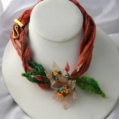 Glass & Felt Flower Necklace