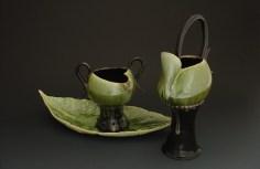 Green Tea Creamer & Sugar Bowl