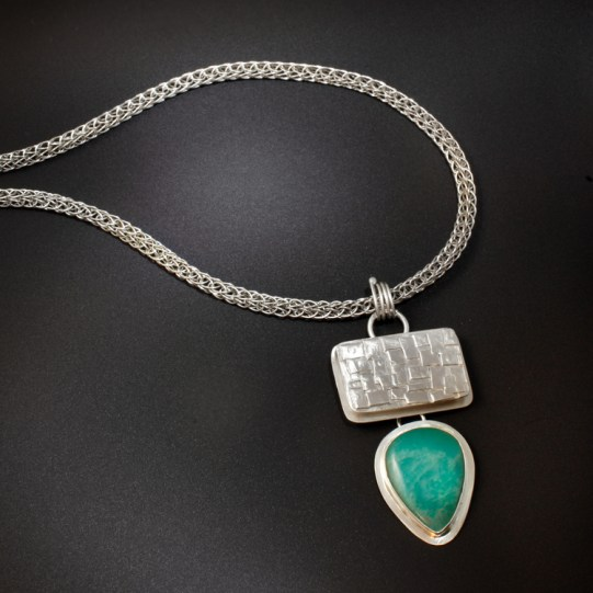 Viking Weave Chain with Fused Silver Box & Amazonite Drop