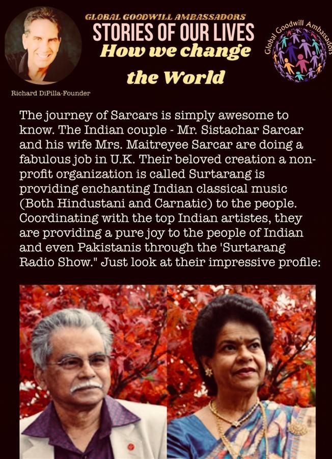 The Sarcars and their non profit organization Surtarang - India -Global Goodwill Ambassadors