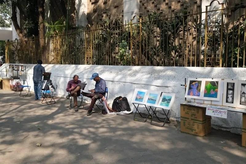 Pavement art gallery, Fort area, Kala Ghoda Art District in Mumbai