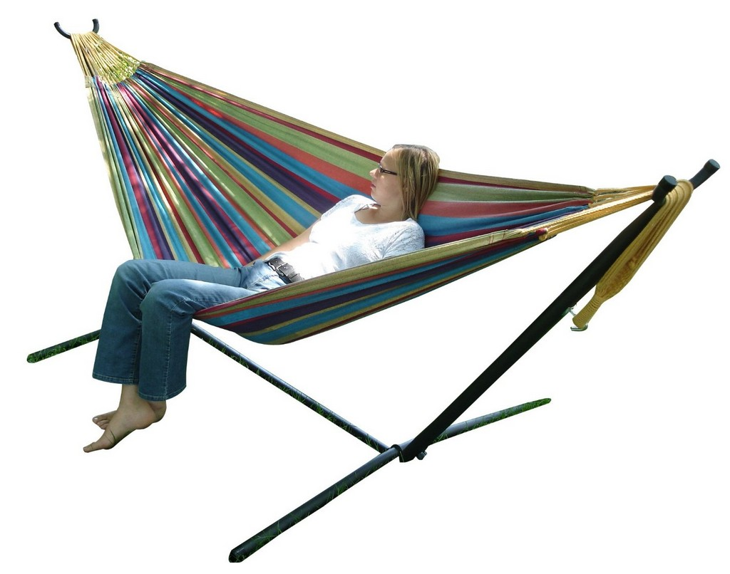 Save 41 Off Vivere Double Hammock With Stand In Tropical