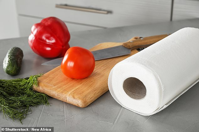 Using kitchen rolls is a great way to keep fruit and vegetables in the fridge fresh and crispy