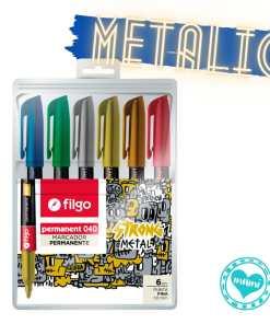 filgo marcador permanente 040 metalic stronk metal por 6 mumi diseño divertido