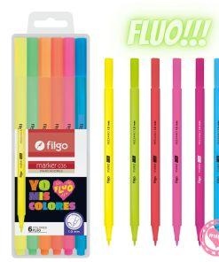 filgo marcadores marker 036 por 6 fluo mumi diseño divertido