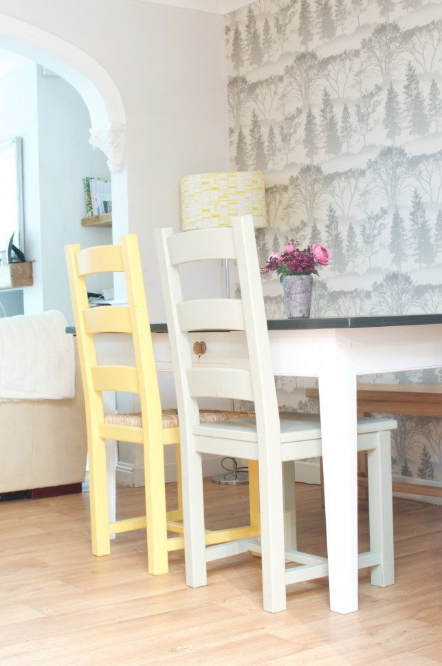 Grey and cream dining room makeover with touches of yellow to create a calm dinng space