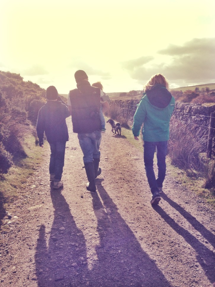 My boys and man on a Dartmoor ramble in autumn