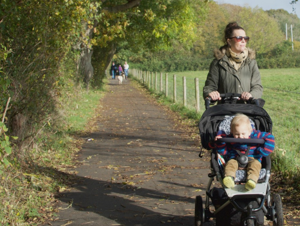 Walking the riverside walk in the Byes, Sidmouth with our trusty 3 wheeler Mountain Buggy