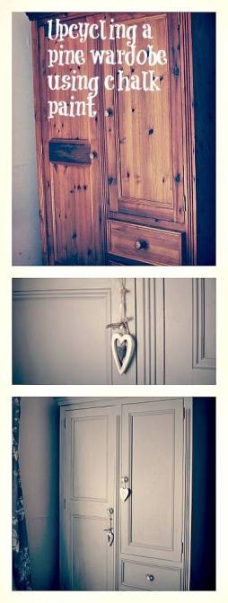 Upcycling a wardrobe in grey chalk paint
