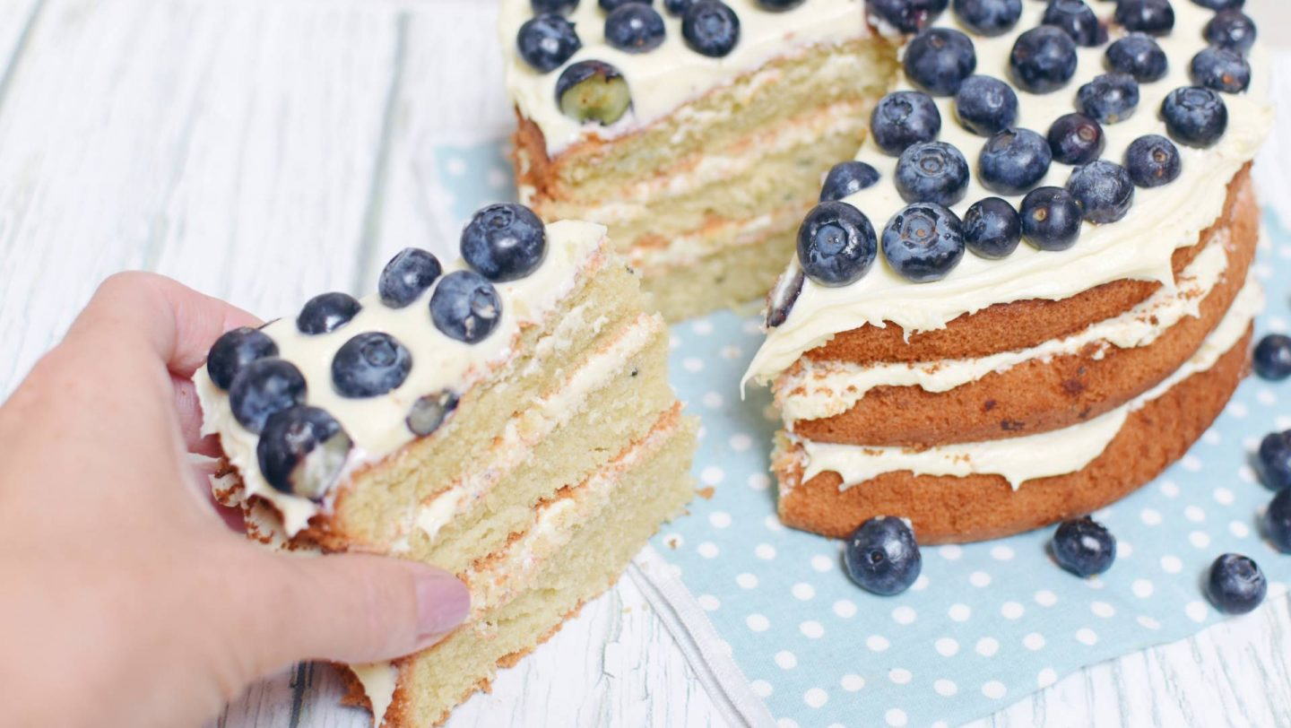 a recipe for a delicious blueberry cheesecake gateaux, moist and tasty it's the perfect centrepiece for an afternoon tea