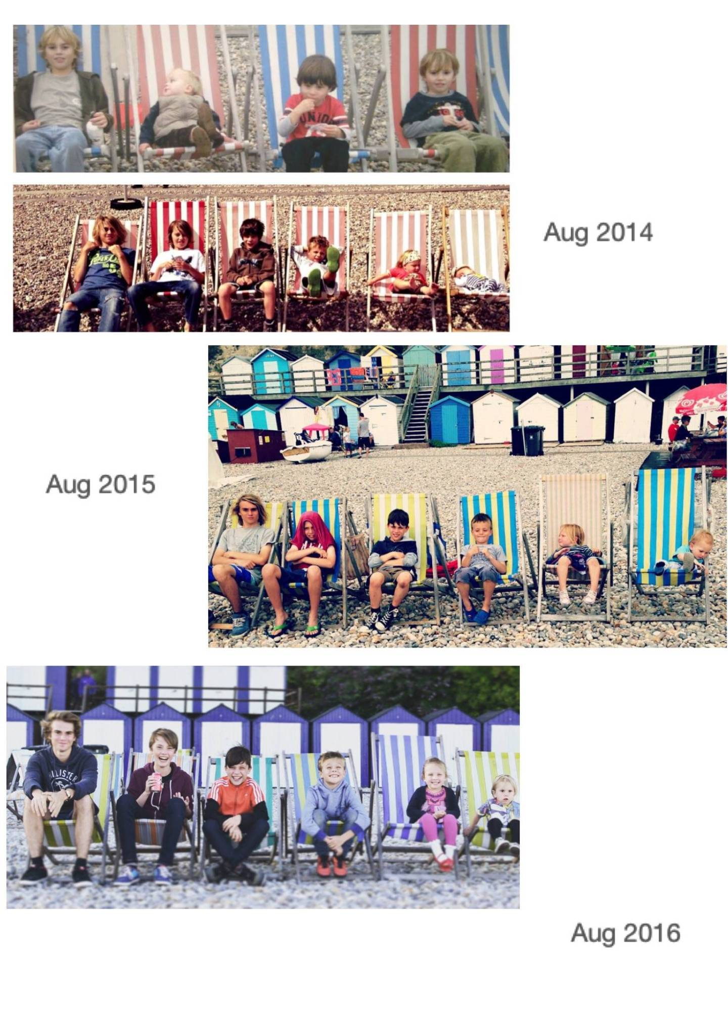 Every year we take my children and their cousins down to the beach for our yearly family photo, we put them in the same order, the same setting and at the same time of the year. read more here;