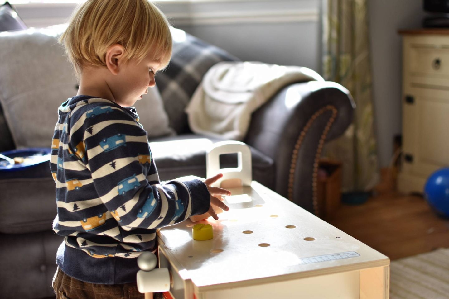 If you're looking for a sturdy gift which can withstand a boisterous toddler then this wooden workbench from the Wooden Toy Shack is perfect