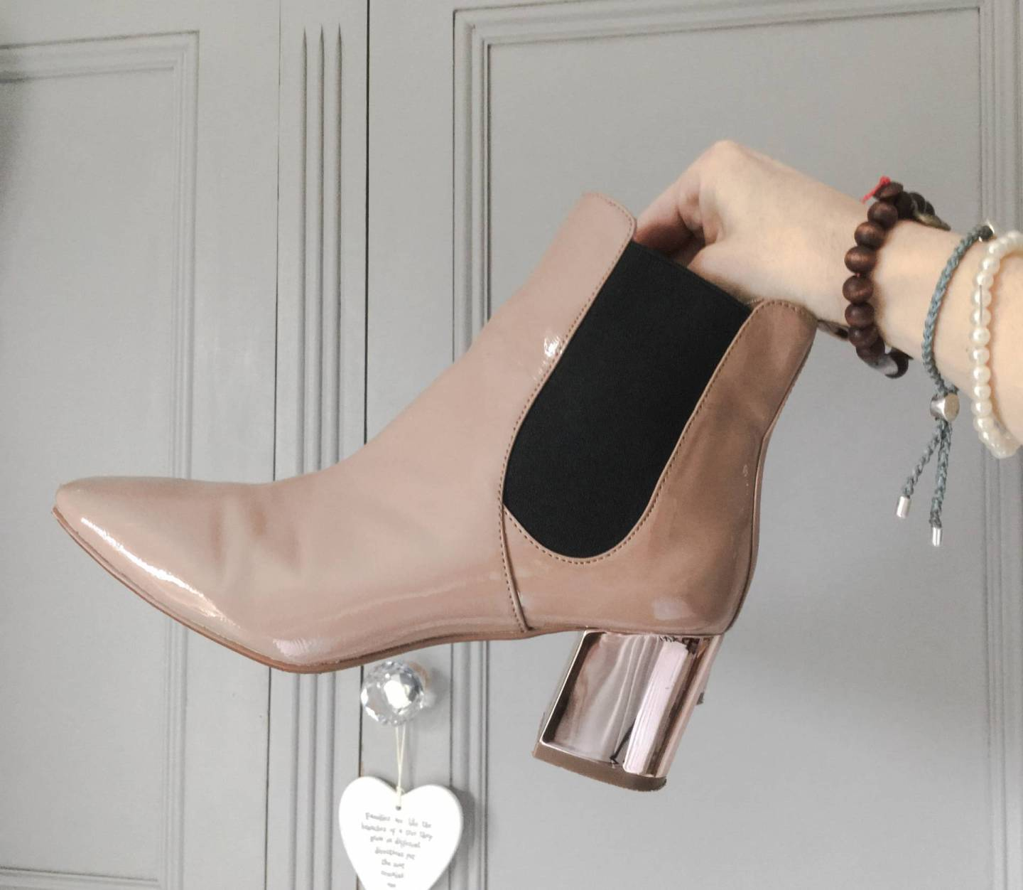 My top picks from the current collection at River Island this season are these nude Chelsea boots & classy navy wrap dress