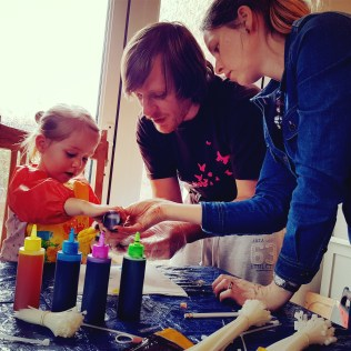 Tie dying with kids