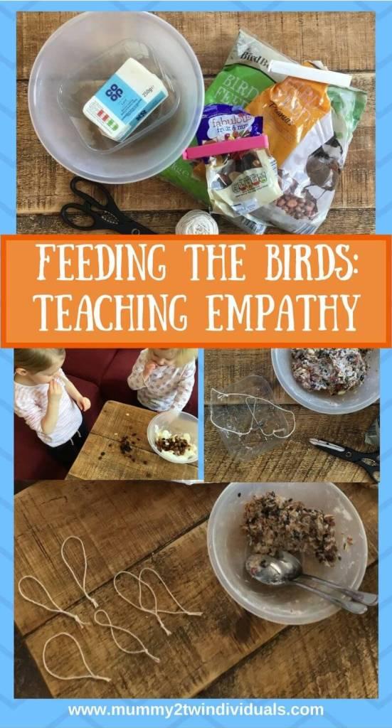 feeding the birds teaches empathy pin