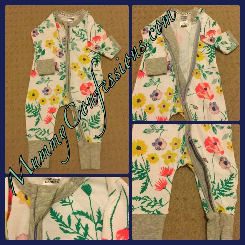 Two way zip, zippy, bonds, bonds Wondersuit, Wondersuit, bonds zippy Wondersuit, fold over legs, zippy, flowers, cute, baby, clothes