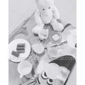 picnic, tea party, teddy bear, black and white, activity, play, toddler play