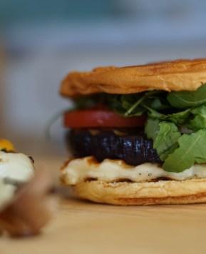 Kebab sticks and vegetable burger
