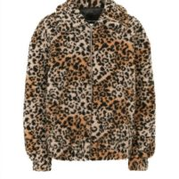 New Look women's borg leopard print bomber jacket.