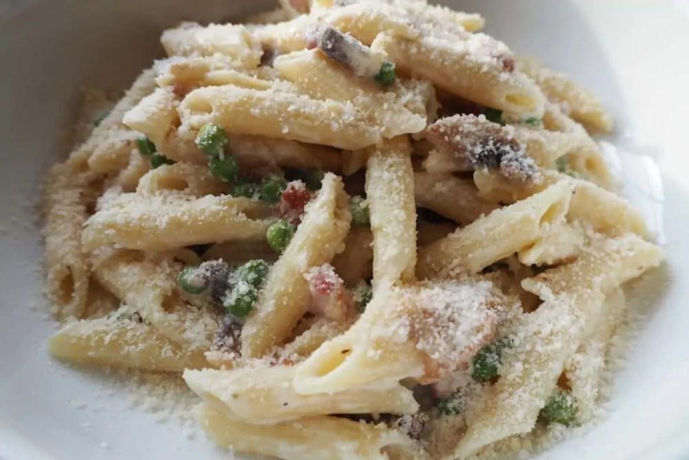 Pea and Pancetta Penne Pasta Recipe