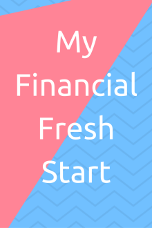 My financial fresh start pinterest graphic, white writing ona blue and pink background
