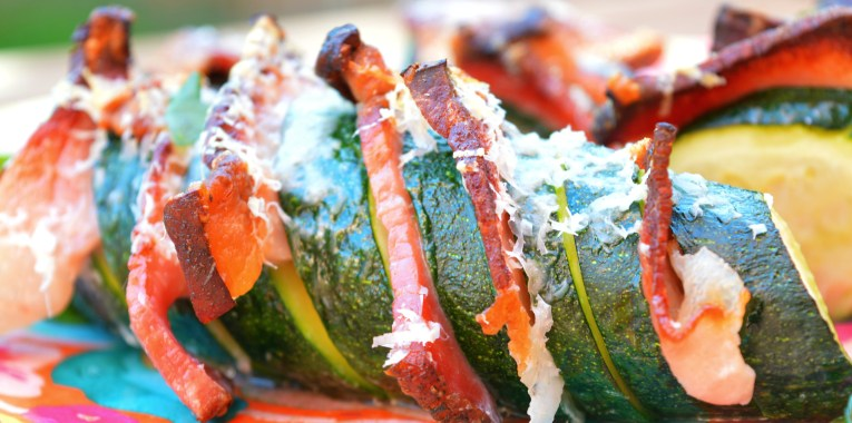 Hasselback Zucchini with Crispy Bacon
