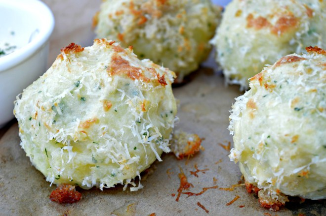 Cheese & Peas Potato Balls with Parmesan Crust