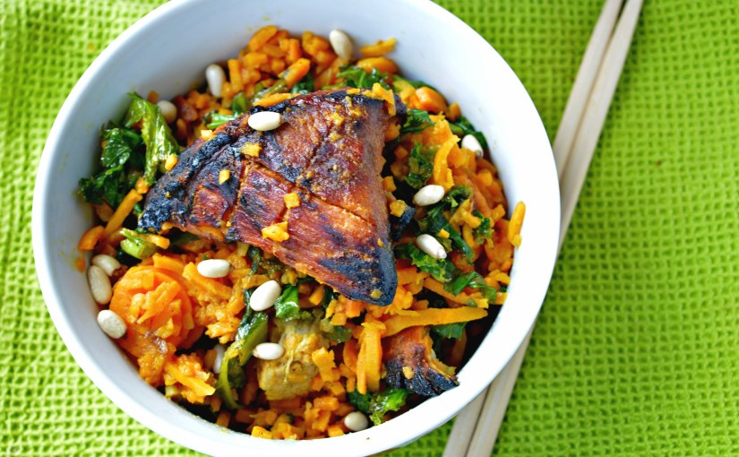 Sweet Potato Noodles with Kale & Pork