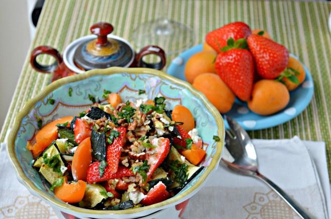 Grilled Zucchini Strawberry Salad