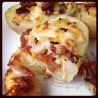Chorizo and sun-dried tomato stuffed potato skins