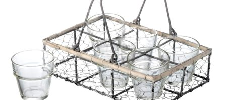 *Prize Draw* Wire Crate 6 Glass Tea Light Holder & Sea Salt Tea Light