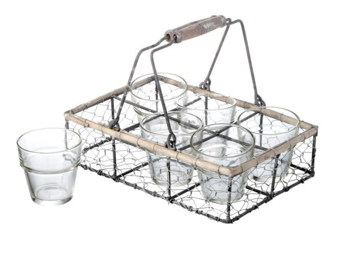 Wire Crate 6 Glass Tea Light Holder