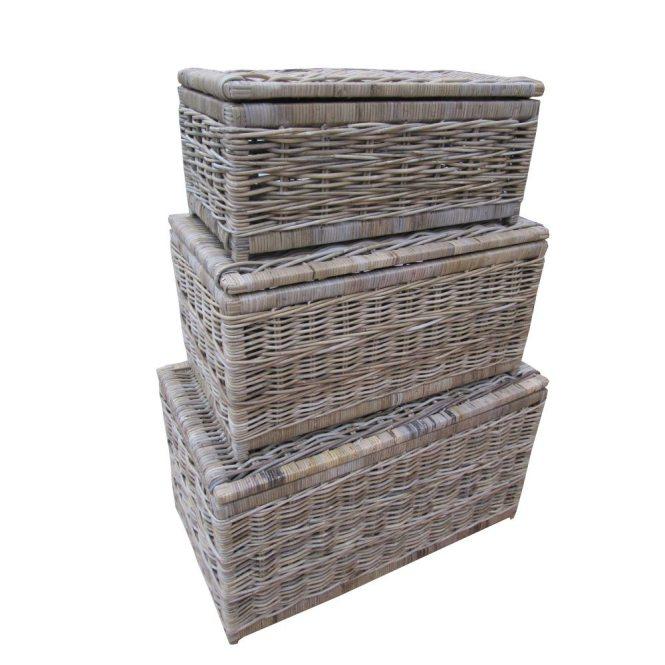 Grey & Buff Rattan Wicker Storage Trunk