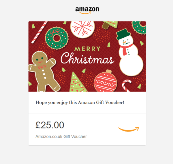 Amazon £25 Gift voucher in time for Christmas