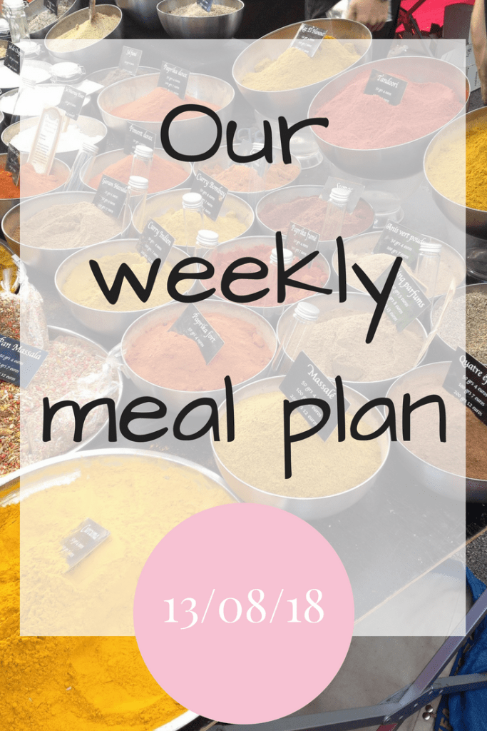 Our weekly meal plan 13th August 2018