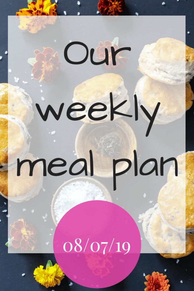 Our weekly meal plan - 08/07/19