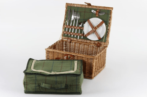 Luxury Tweed 2 Person Picnic Wicker Hamper Basket