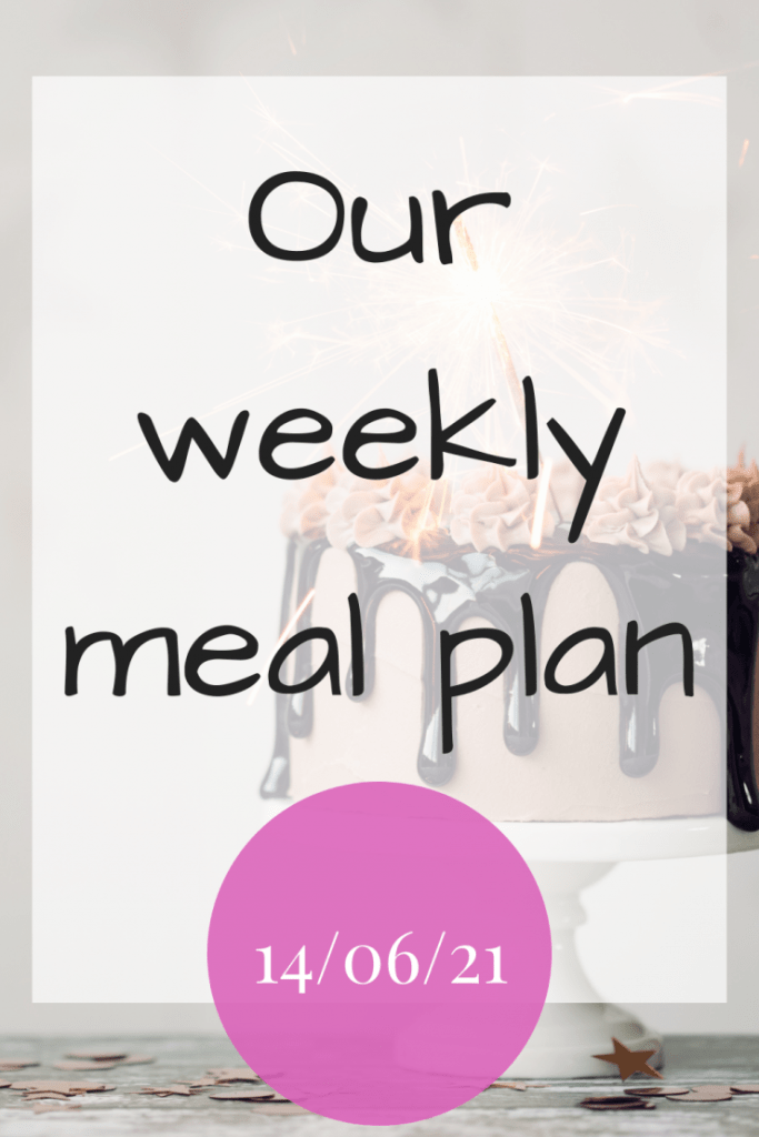 Our weekly meal plan for the 14th June 2021