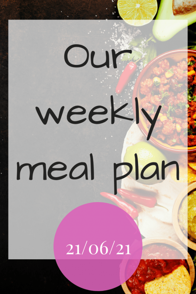 Our weekly meal plan - 21st June 2021