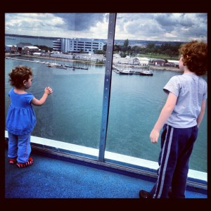 Kids on the deck of a ferry