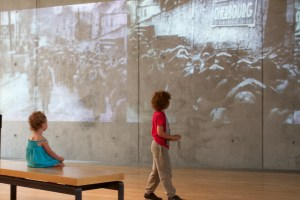 Children at omaha watching war video